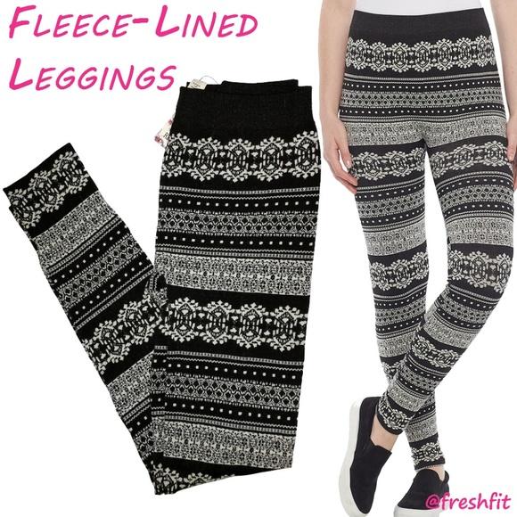 16abf1f7e63c0 NEW Juniors Tribal Pattern Fleece Lined Leggings. NWT. Pink Republic